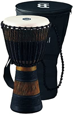 Meinl Percussion African Style Rope Tuned 10-Inch Wood Djembe with Bag, Brown/Black