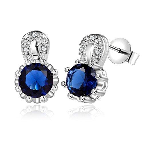 Duo La Elegant Personalize Blue Cubic Zirconia Fashion Charm Lady Stud Earrings (Smart Balance Popcorn compare prices)
