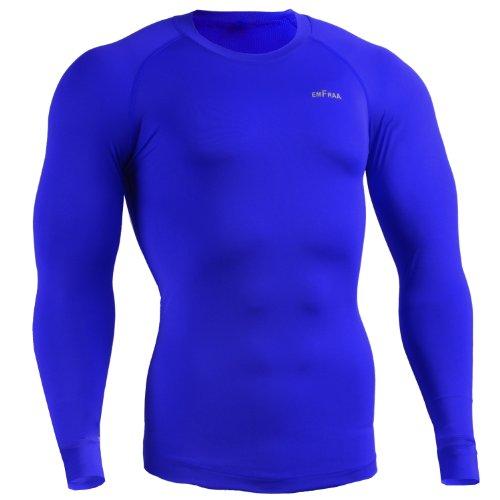 emFraa Men Women Compression Sport Blue Base Layer Tee Shirt Long Sleeve S ~ XXL