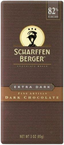 SCHARFFEN BERGER 82% Extra Dark Chocolate Bar (3-Ounce Bars, Pack of 6)