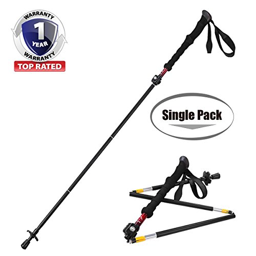 [Fold To Travel! OneYear Warranty] Himal 1 pcs Folding Collapsible Travel Hiking Walking Stick Trekking Pole with EVA Foam Handle (Black-Red)
