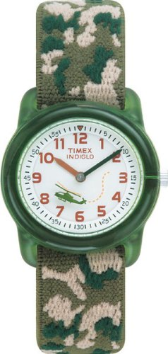 Timex Youth Boy's Quartz Watch with White Dial Analogue Display and Multicolour Fabric and Canvas Strap T781414E