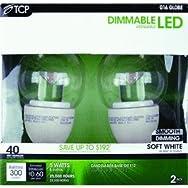 TCP RLDCG165W27K2 5W LED Globe Light Bulb-5W GLOBE LED 2PK BULB
