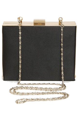 V. CHRISTINE NEW YORK Box Clutch Handbag with Faux Leather and Polished Gold Hard Frame Trim in Black ... (New York In A Bag compare prices)