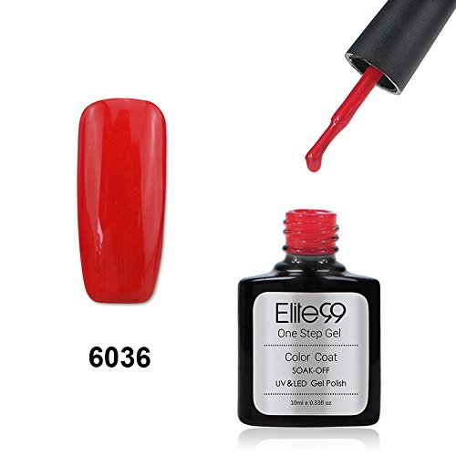 Elite99 Smalto Semipermanente One Step 3 in 1 UV LED Colore Gel 10ml Scuro Rosso