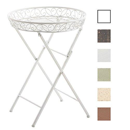 CLP-klappbarer-Blumentisch-Beistelltisch-MATTY-rund-Metall-Eisen-FARBWAHL--46-cm-schne-Verzierungen-nostalgisches-Design-Hhe-62-cm-wei