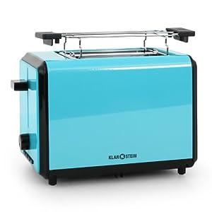 Klarstein Bonjour Toaster (800W, Twin Extra-wide 4cm slots & Warming Rack) - Blue
