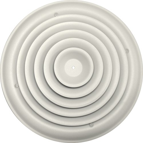 Speedi-Grille SG-RCR 12 12-Inch Round White Ceiling Air Vent Register with Fixed Cone Diffuser and Bowtie Damper