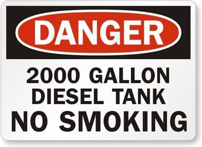 "2000 Gallon Diesel Tank No Smoking, Laminated Vinyl Labels, 5 Labels / Pack, 5"" X 3.5"""