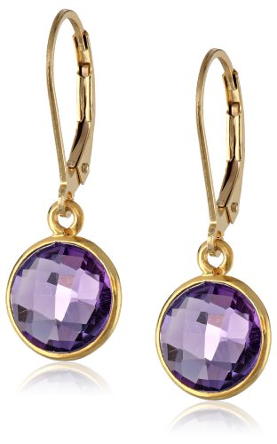 Gold-Plated Sterling Silver And Amethyst Dangle Earring