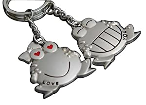 Chuzhao Wu Metal Nickel Key Ring Key Chain Frogs Shape For Lovers Sweethearts Valentine's Day Gift(Pack Of 2)