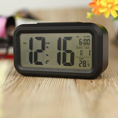 Anself LED-Digital-Wecker Watch Wiederholung Snooze Licht-aktivierten Sensor-Hintergrundbeleuchtung Zeit Datum Temperaturanzeige Schwarz