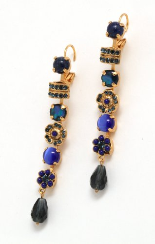 Admirable 24K Yellow Gold Plated Earrings from 'Third Eye Chakra' Collection by Amaro Jewelry Studio Decorated with Lapis Lazuli, Cat's Eye and Swarovski Crystals, Adorned with Tear Drop and Flower Ornaments