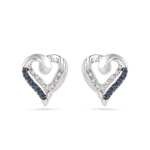 Platinum Plated Sterling Silver Blue and White Round Diamond Heart Earrings (1/10 CTTW)