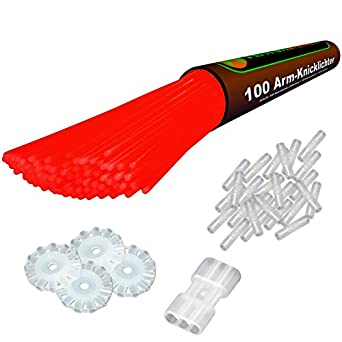"100 Glow Sticks RED. Premium-Class! Factory-Fresh! Brightly colored Lightsticks! 8"". Incl. 100 bracelet / necklace Connectors, 1 Glow Ball / flower Kit! Latest Generation!"
