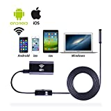 RIOROO Endoscope Wifi Wireless iOS iPhone Android Borescope Endoscope Camera with 2.0 Megapixel Pixels USB Waterproof HD 6LED for iPhone 7/7Plus/6/6s,iPad,Samsung etc(8.0mm,5M)