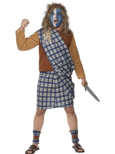 "Smiffys Men's Blue Brave Scotsman Costume - Chest 42""-44"", Leg Inseam 33"""