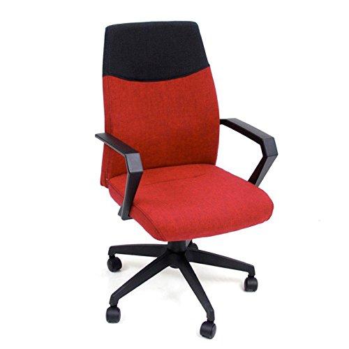 Poltrona ufficio rossa in tessuto e nylon con ruote girevoli 58x58xH98 cm Start