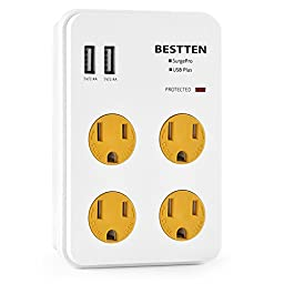 Bestten 4 Outlet Wall Mount Surge Protector with 2 USB Charging Ports (2.4A/Port, 3.1A Total) and Safety Covers