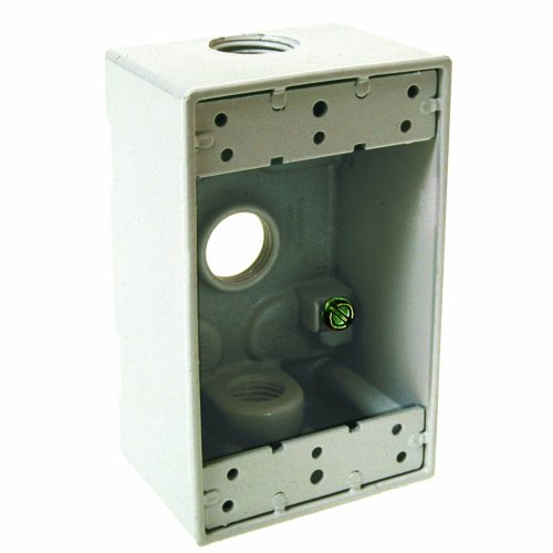 Hubbell Bell 5320-1 Single Gang 3-1/2-Inch Outlets Weatherproof Box, Whie