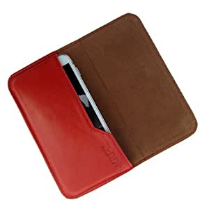 i-KitPit : Genuine Leather Flip Pouch Case Cover For HTC Sensation XL (ORANGE)