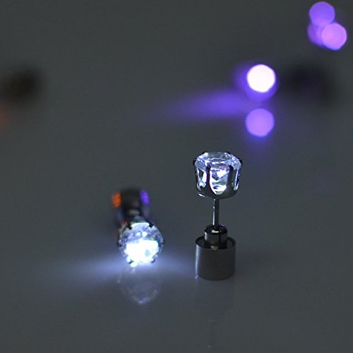 Flammi 1 Pair Multicolor Bright Stylish Fashion LED Earrings Glowing Light Up Diamond Crown Ear Drop Pendant Stud Stainless Multi-Color (Dazzle)