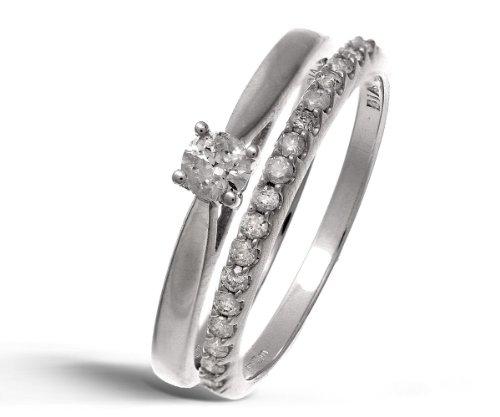 9ct White Gold 0.33ct Diamond Bridal Set Ring