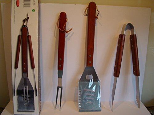 Deluxe barbecue Manche en bois pour barbecue 3 pièces en acier inoxydable Tool Set