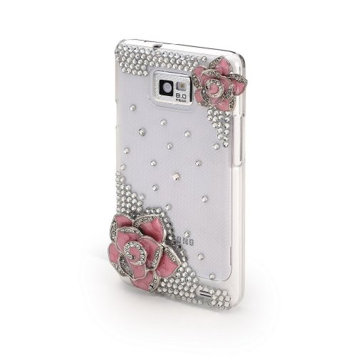 Coco Hand-made Durable Samsung Galaxy S2 i9100 Hard Crystal Bling Case Skin Cover Pink Flower (with Free Diamante/ diamonds and Glue)