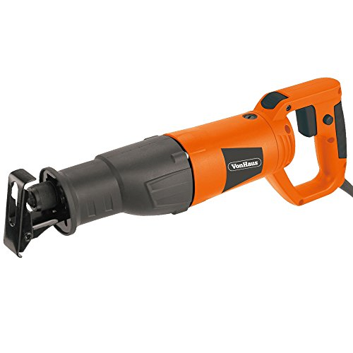 Vonhaus 7.1a Reciprocating Saw with Rotating Handle & 2 Blades for Wood & Metal Cutting