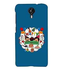 Fuson Premium Happy B`Day Printed Hard Plastic Back Case Cover for Micromax Canvas Nitro 4G E455