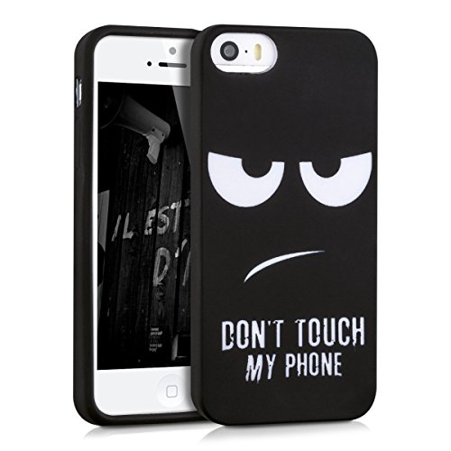 kwmobile CUSTODIA IN TPU silicone per Apple iPhone SE / 5 / 5S Design Don't touch my phone bianco nero - Stilosa custodia di design in morbido TPU