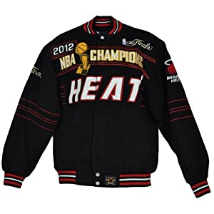 NBA Miami Heat Mens Adult NBA Champions The Finals 2012 Twill Jackets JH Design by NBA Licensed Apparel