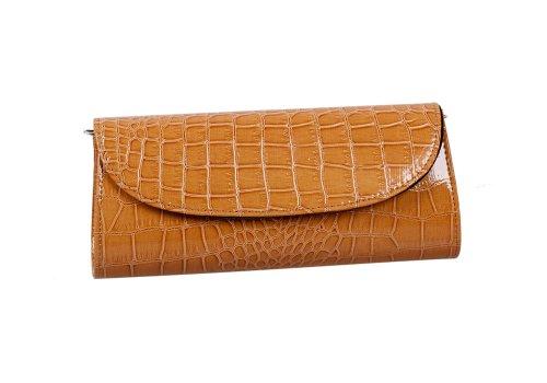 Комплект монстр женская конверт вечер патент Крок кожи с тиснением сцепления - коричневый