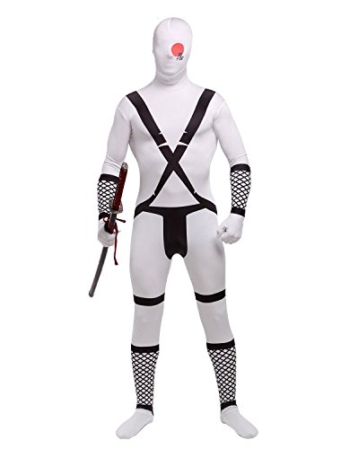 Treasure-box White Samurai Lycra Spandex Zentai Skin-Tight One Piece Unitard