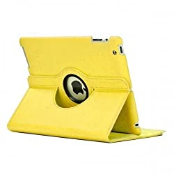 Leather 360 Degree Rotating Smart Stand Case Cover For New iPad 4 iPad 3 iPad 2 - Yellow