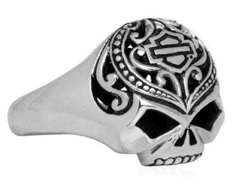 Harley-Davidson® MOD® Women's .925 Sterling Silver Filigree Skull Ring. HDR0314