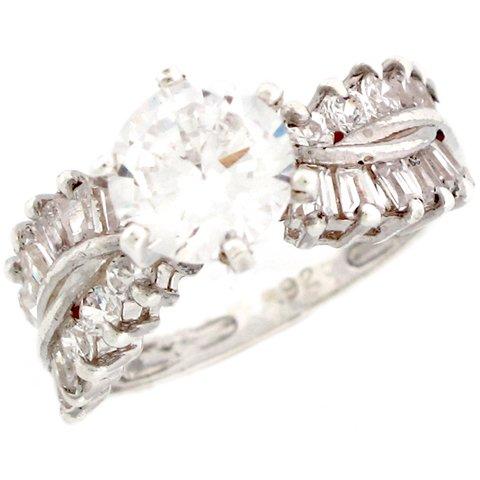 Sterling Silver 3.27ct CZ Sparkle Unique Ladies Engagement Ring