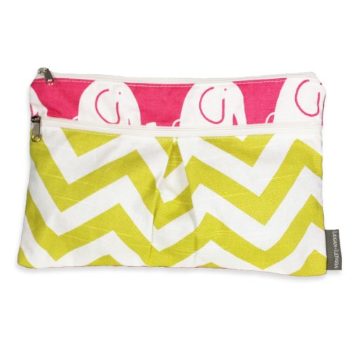 Logan + Lenora Wet/Dry Diaper Clutch 'Pink Elephant' Wet Bag Small