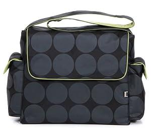 OiOi Charcoal Dot - Bolso cambiador (con accesorios y forro color verde), diseño de lunares, color gris en BebeHogar.com