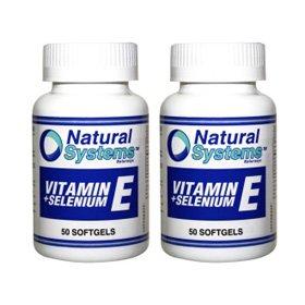 Natural Systems 2 Pack Vitamin E + Selenium 50 Softgels Antioxidant Health