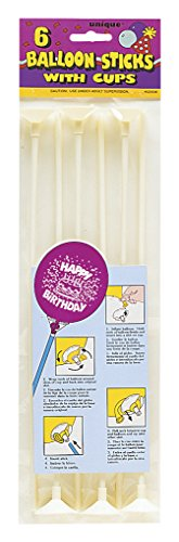 12'' White Balloon Sticks with Cups, 6ct