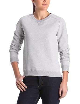Petit Bateau - Sweat-Shirt - Uni - Col ras du cou - Manches longues - Femme - Gris (Gris /Jaune Fonce) - FR : 36 (Taille fabricant : 36)