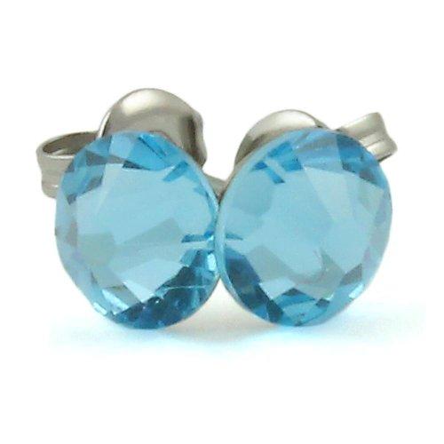 Aquamarine blue Swarovski Elements crystal  stud earring on surgical steel post - comfortable wearing