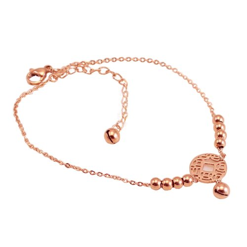 PlusMinus Women's 316L Stainless Steel Ancient Coin String Beads And Hanging Bell Pendant Gift Anklet Rose Gold