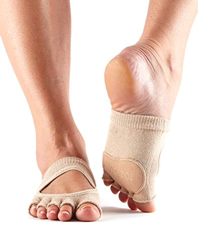 ToeSox Women's Releve Half Toe Grip for Dance, Yoga, Pilates, and Barre Toe Socks With LEATHER PAD (Nude) Small