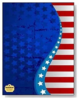 Stars And Stripes Notebook - An attractive red, white and blue stars and stripes design creates a stunning patriotic cover for this blank and college ruled notebook with blank pages on the left and lined pages on the right.