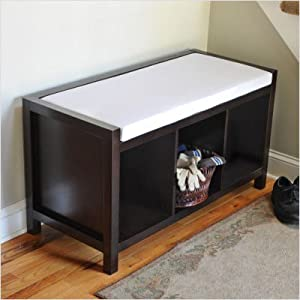 Open Storage Etryway Bench with Cushion
