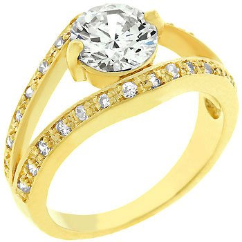14K Gold Bonded Anniversary Style Ring 2 Carat CZ Ring