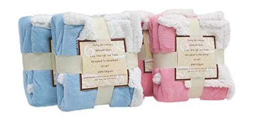 "Set of 2 - High Quality - Super Soft Baby Blanket - Reversible - Sherpa/Microplush - 30"" x 40"" - Light Pink - Exclusively by Blowout Bedding RN# 142035"